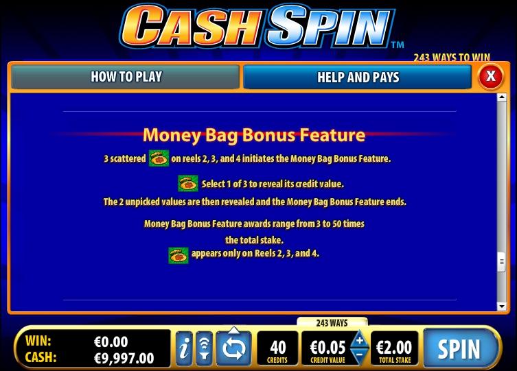Бонусы и призовые комбинации Cash Spin